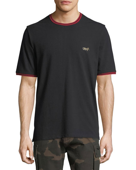 Leopard-Embroidered Pique T-Shirt
