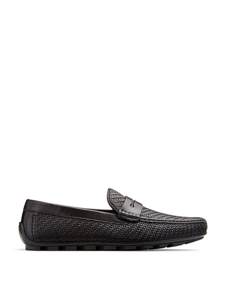 Highway Pelle Tessuta Penny Loafer, Black