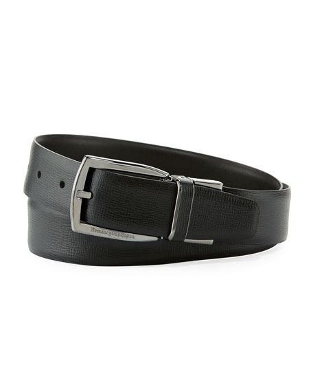 Ermenegildo Zegna Reversible Belt w/ Polished Buckle, Black