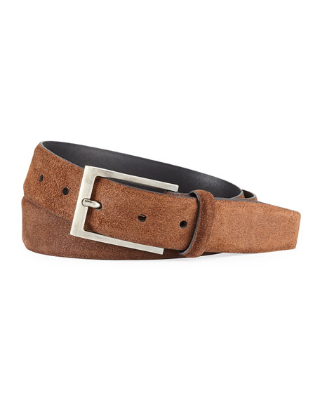 Men's Textured Suede Belt w/ Matte Buckle
