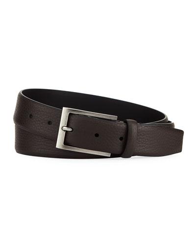 Matte Reversible Belt, Dark Brown