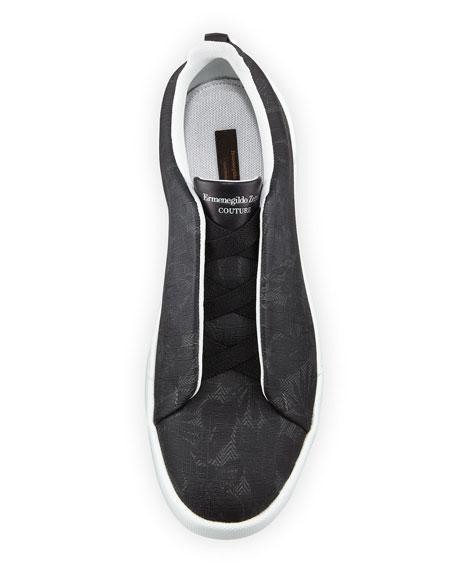 Men's Triple Stitch Leaf-Print Slip-On Sneakers, Gray