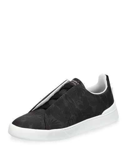 Leaf-Print Slip-On Sneaker, Gray