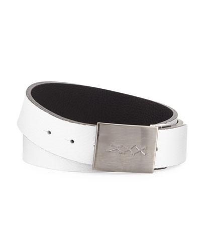 Men's XXX-Plaque Leather Belt