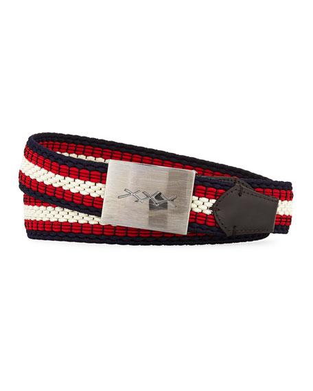 XXX Engraved-Buckle Woven Belt