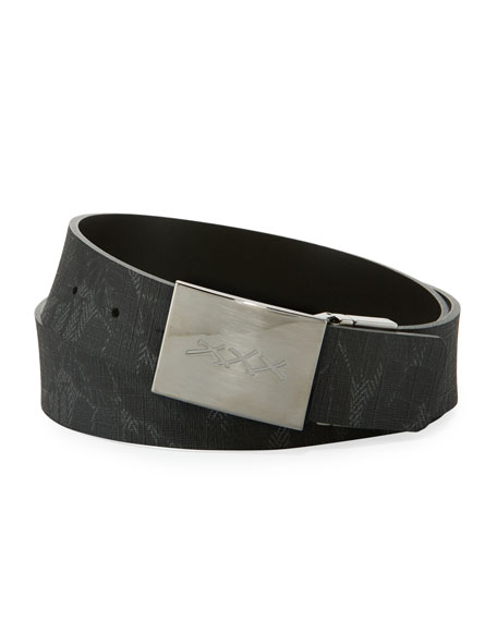 Leaf-Print Canvas Belt with XXX Plaque Buckle