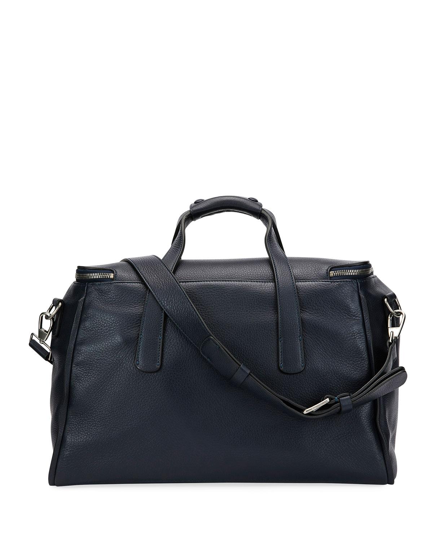 Amf Bz leather & knit weekender bag