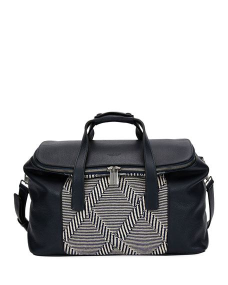 Giorgio Armani Leather & Knit Weekender Bag