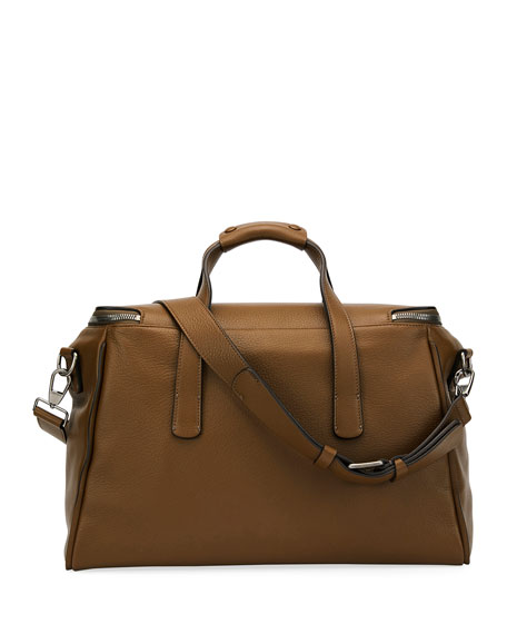 Deerskin Leather Weekender Bag, Light Brown