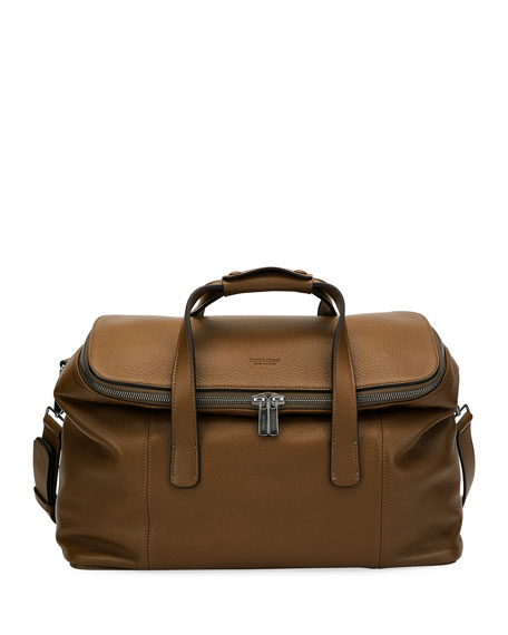 Giorgio Armani Deerskin Leather Weekender Bag, Light Brown