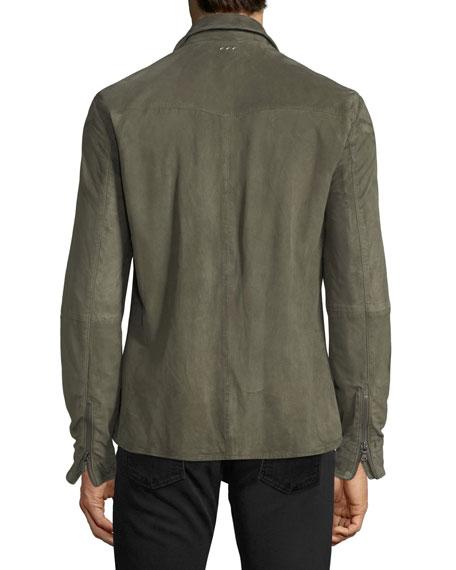 Light Suede Zip-Front Shirt Jacket