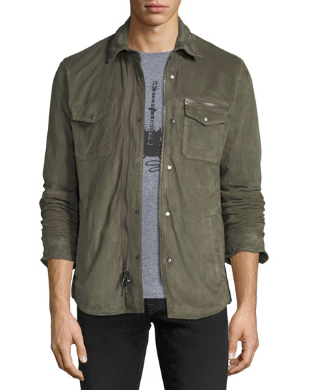 John Varvatos Star USA Light Suede Zip-Front Shirt
