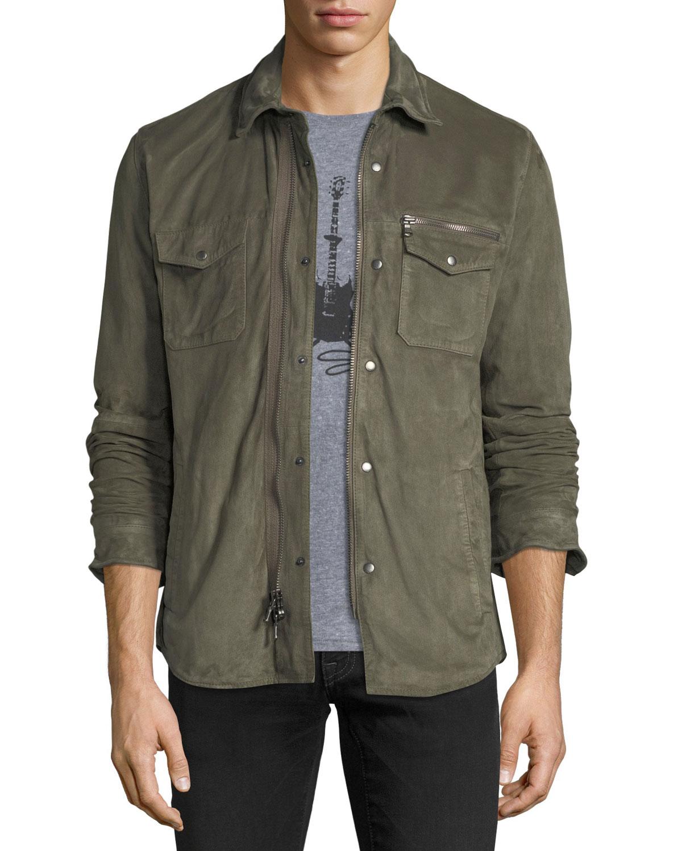 John Varvatos Star USA Light Suede Zip-Front Shirt Jacket