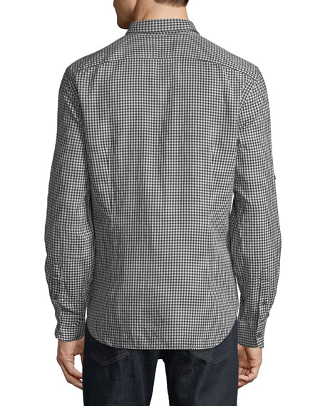 Roll-Tab Sleeve Gingham Sport Shirt