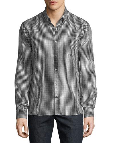 Roll-Tab Sleeve Gingham Sport Shirt