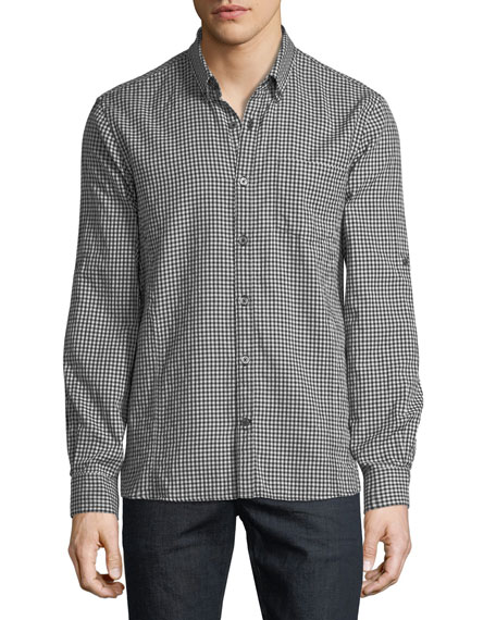 John Varvatos Star USA Roll-Tab Sleeve Gingham Sport