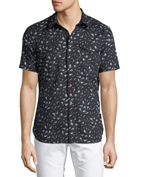 John Varvatos Star USA Floral-Print Short-Sleeve Sport Shirt