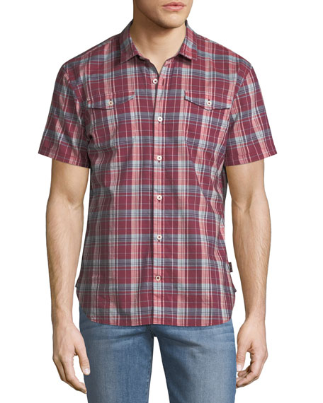 Plaid Short-Sleeve Sport Shirt