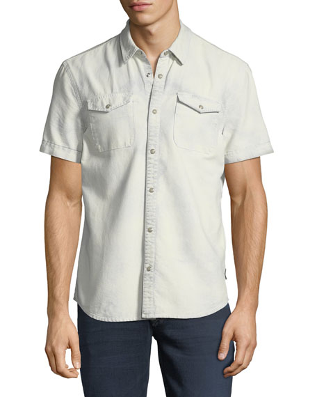 John Varvatos Star USA Western Cotton Short-Sleeve Shirt