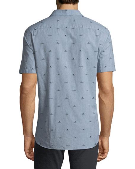 Skull-Print Short-Sleeve Sport Shirt