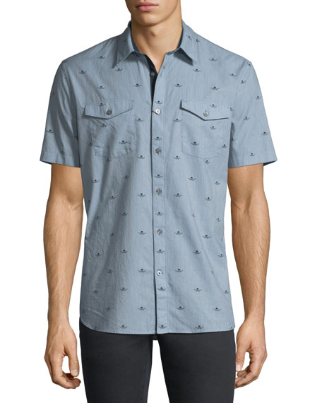 John Varvatos Star USA Skull-Print Short-Sleeve Sport Shirt