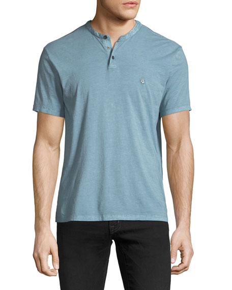 John Varvatos Star USA Sublime-Wash Short-Sleeve Henley Shirt