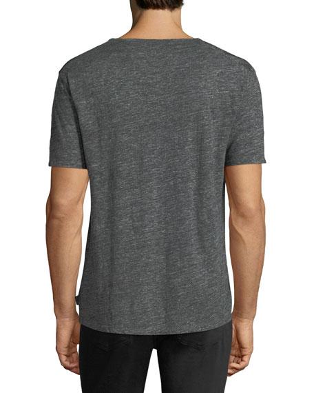 Striped V-Neck Linen T-Shirt