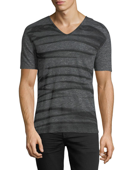 John Varvatos Star USA Striped V-Neck Linen T-Shirt