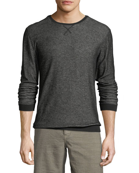 Solid-Trim Striped Crewneck Top