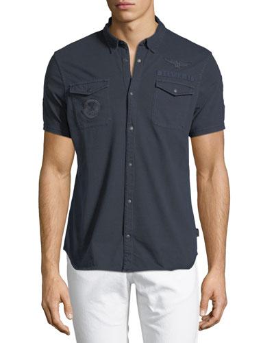 Chest-Pocket Short-Sleeve Sport Shirt