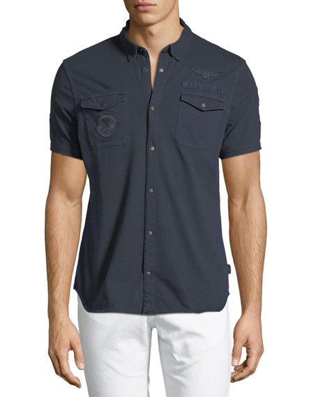 John Varvatos Star USA Chest-Pocket Short-Sleeve Sport Shirt
