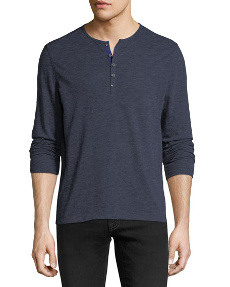 Heathered-Knit Henley Shirt