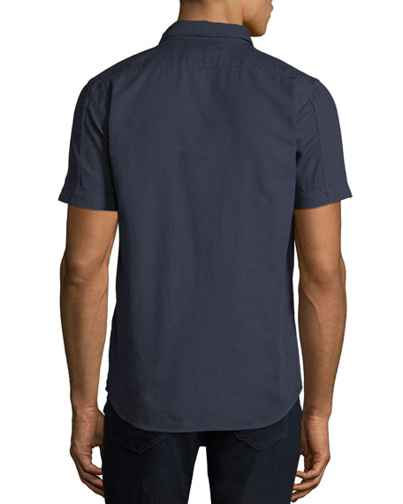 Men's Solid Cotton Short-Sleeve Sport Shirt