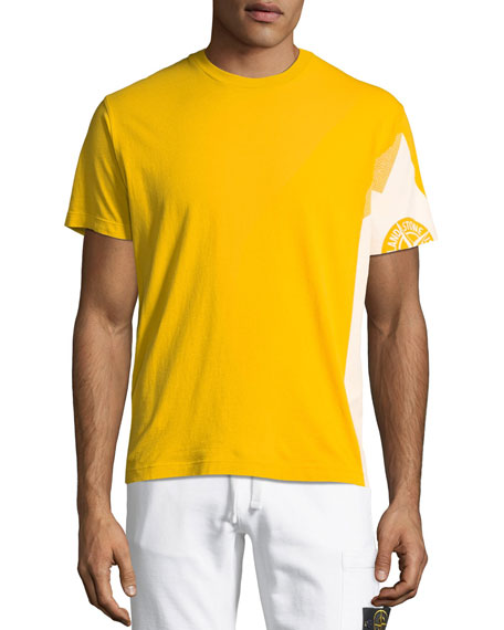 Stone Island Two-Tone Graphic Cotton T-Shirt