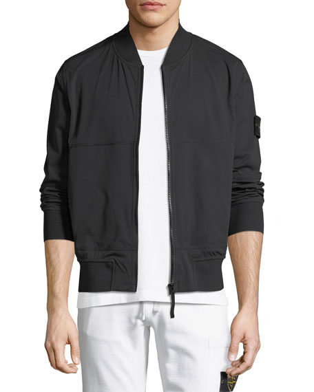 Solid Zip-Front Bomber Jacket