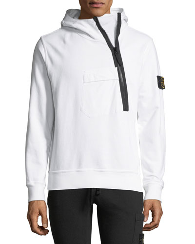 Asymmetric-Zip Hooded Sweatshirt
