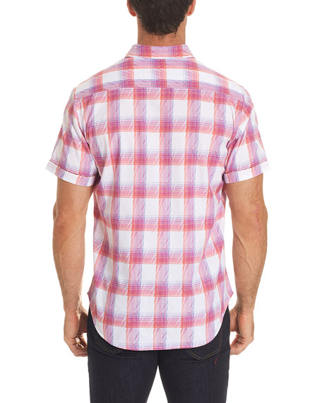 Torres Short-Sleeve Warped Plaid Shirt