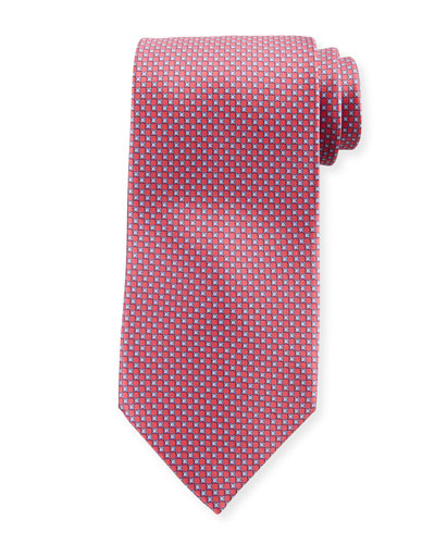 Men's Small-Cross Print Silk Tie