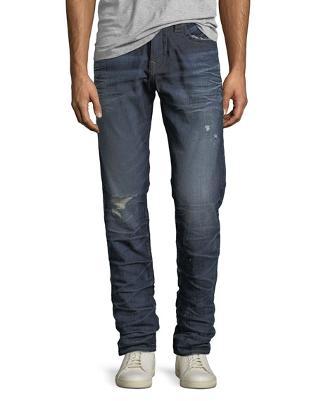 True Religion Geno Distressed Slim-Straight Jeans