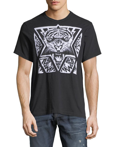 Laser-Cut Tiger Graphic T-Shirt