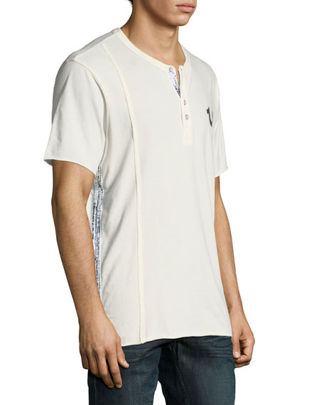Raw-Edged Short-Sleeve Henley Shirt