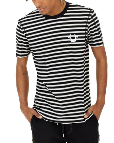 Raw-Edge Striped T-Shirt