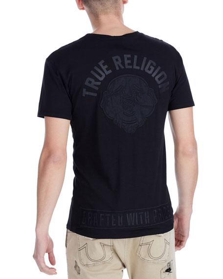 Mesh Buddha Face Graphic T-Shirt