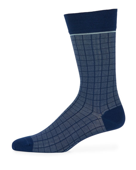 Windowpane Cotton-Blend Socks