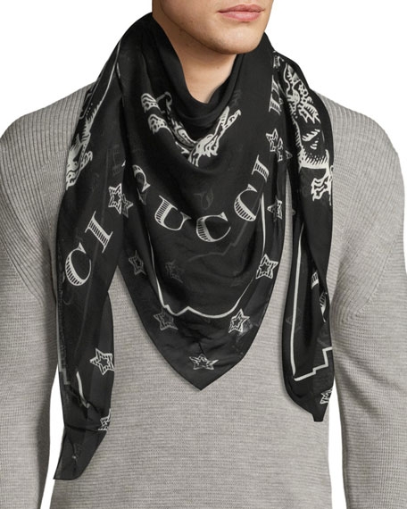 Gucci Dragon-Print Silk Shawl Scarf