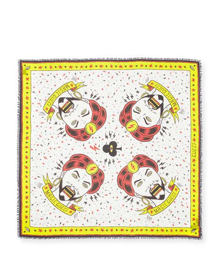 Magician-Print Cotton Shawl Scarf
