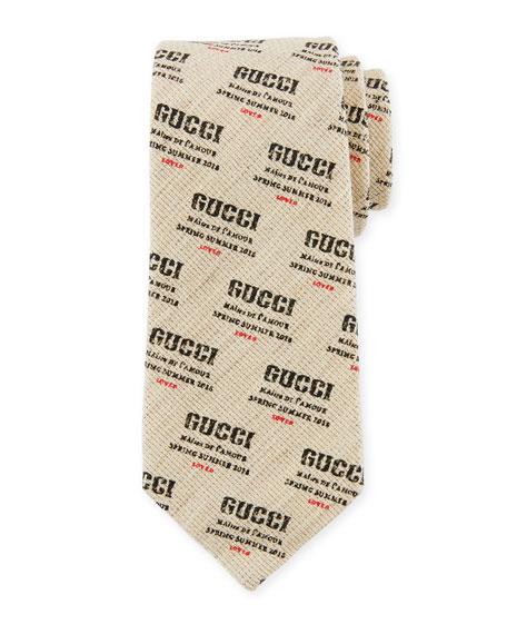 Gucci Invite Stamp Logo-Print Cotton/Linen Tie