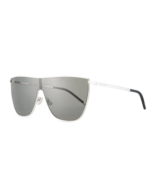 0159e448fc Saint Laurent Men s Mask Bold Metal Flat-Top Shield Sunglasses ...