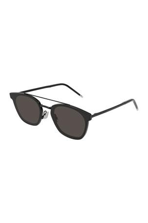 Saint Laurent Men's Metal Flush-Lens Brow-Bar Sunglasses, Black Pattern
