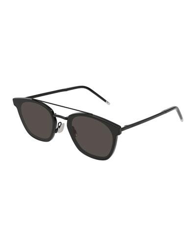 Men's Metal Flush-Lens Brow-Bar Sunglasses, Black Pattern